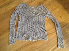 Hollister SWEATER XS Betty's Gorgeous gray loose knit Macrame Gray