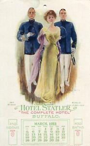 Carte-ETATS-UNIS-BUFFALO-A-naval-Reserve-Hotel-STATLER-Calendar-March-1911