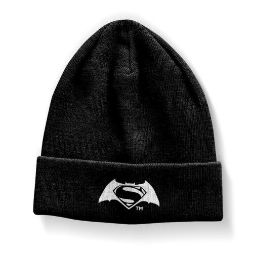 Unisex schwarz Winter Strick Mütze warm bequem Batman vs Superman Beanie
