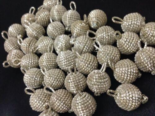5 OR ARGENT SUPERBE Bullion Round Strass Boutons Ball Indian Pom Pom 15 mm