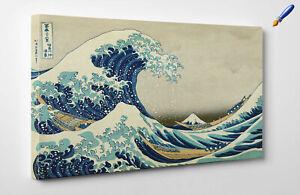 Hokusai-La-Grande-Onda-di-Kanagawa-Stampa-Fine-Art-su-Tela-Vernice-pennellate