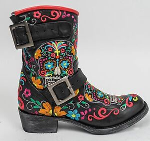 Old Gringo Cowboy Boots Klak Black Sugar Skull Moto Biker Buckle ...