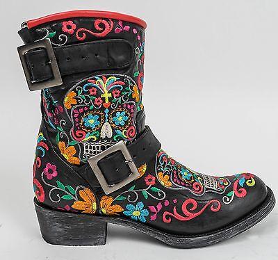 Old Gringo Cowboy Boots Klak Black Sugar Skull Moto Biker Buckle, 7.5 8 8.5 9 10