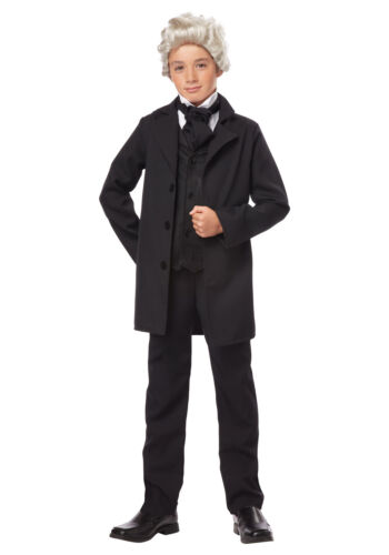 Abraham Lincoln President Jacket Tie Top Hat Costume Historical Child MD-XL