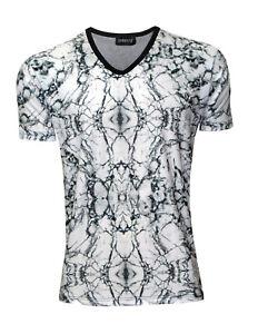 Uomo T Anni Stampa Granito Inserto Shirt Monocromatico Per Marble CBosthQrdx