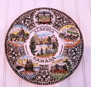 Wood-amp-Sons-Made-in-England-Beautiful-ALBERTA-CANADA-Souvenir-Plate-10-034-VINTAGE
