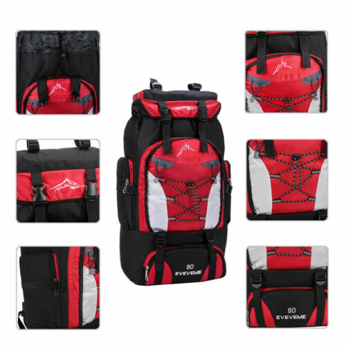 80L Waterproof Travel Camping Rucksacks Bag Hiking Trekking Backpack Daypack