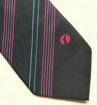 Vintage Cravatta Da Uomo Cravatta Crested Logo Aziendale Blu Scuro A Righe Rosa 1990s-mostra Il Titolo Originale