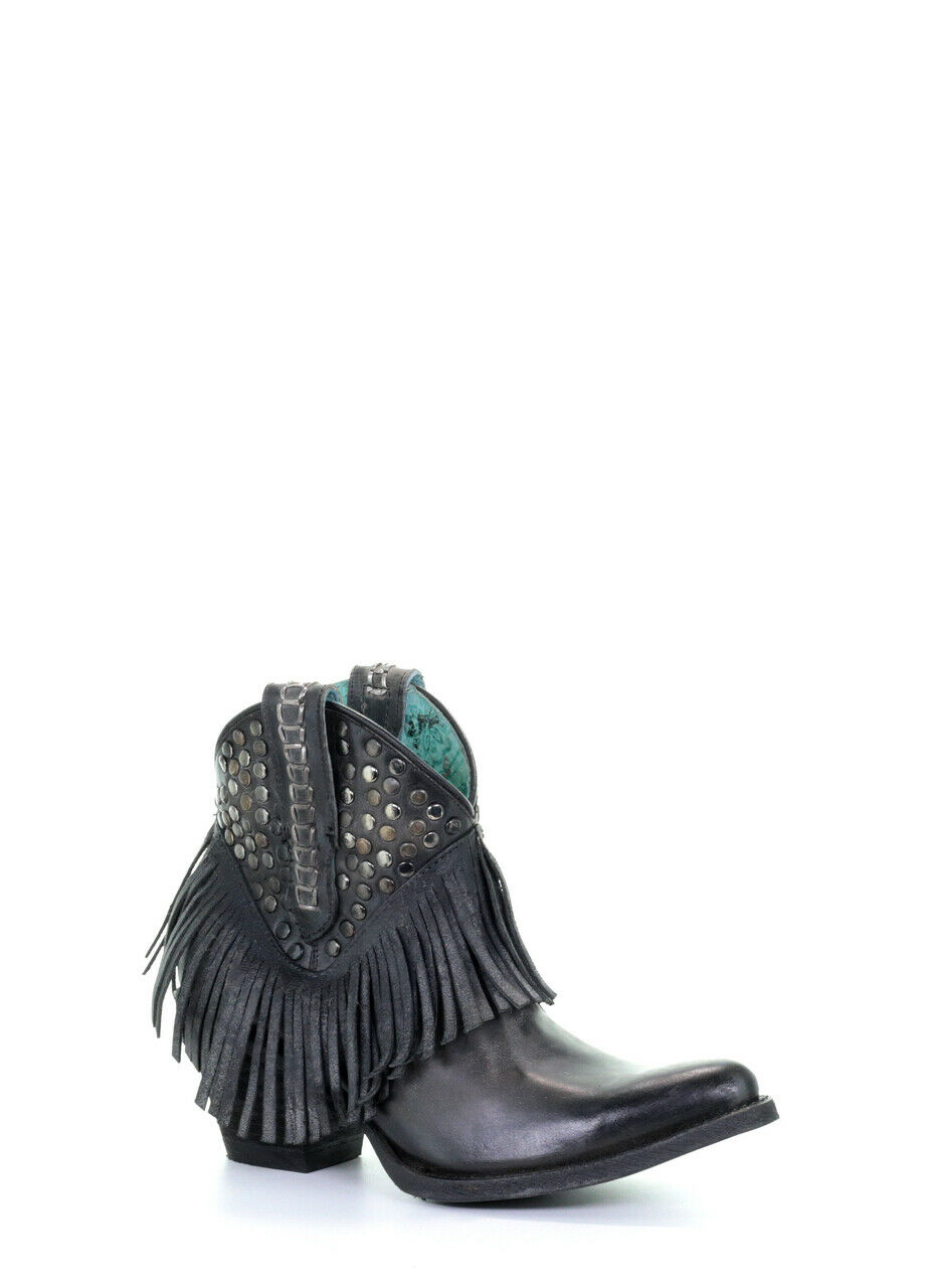 Corral Women's Black Studded & Fringed Western Ankle Boots E1435