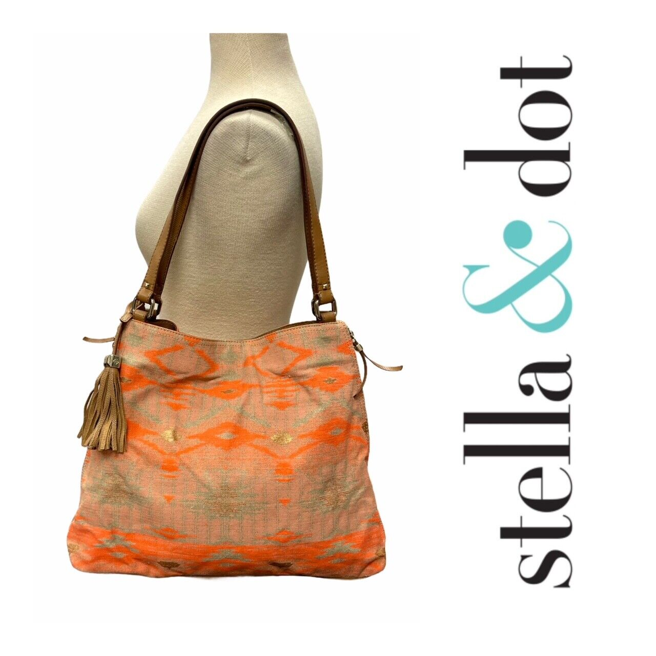 Stella and Dot The Switch Aztec Coral Tote Handbag