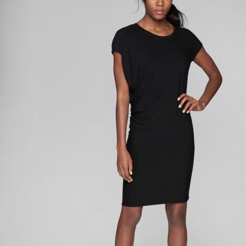 ATHLETA Women/'s Plus Size Black Draped Crew Neck Stretch Dress 1X