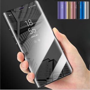 For-Samsung-S9-S8-Plus-Note-9-Clear-View-Mirror-Leather-Flip-Stand-Case-Cover