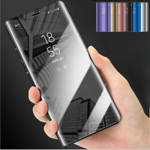 For-Samsung-S9-S10-Plus-Note-9-Clear-View-Mirror-Leather-Flip-Stand-Case-Cover