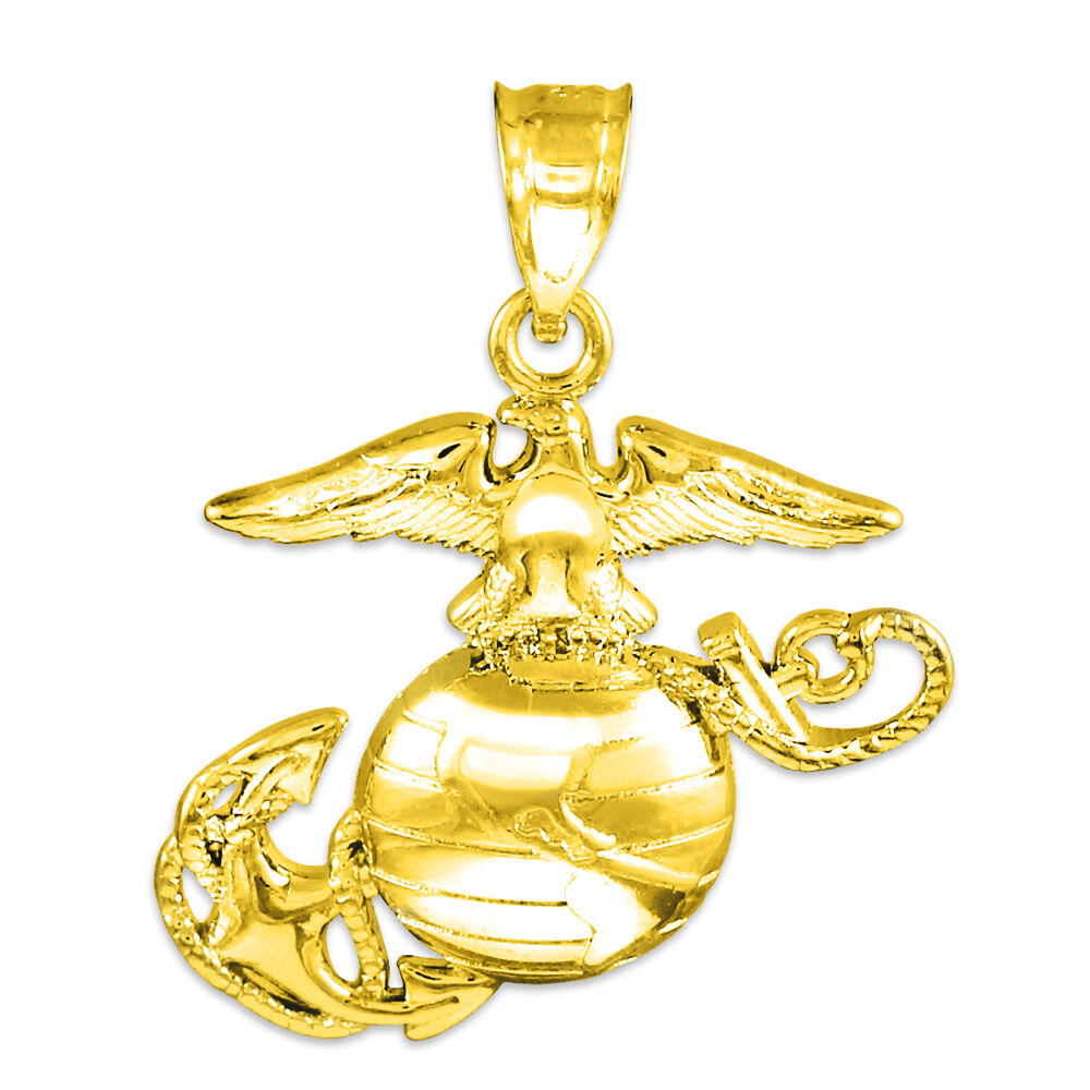 Polished Solid gold U.S. Marine Corps Medium Pendant Made in USA