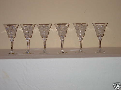 VINTAGE BOHEMIA QUEEN LACE HAND CUT 24/% LEAD CRYSTAL 5 OZ WINE GLASS 6 PIECES