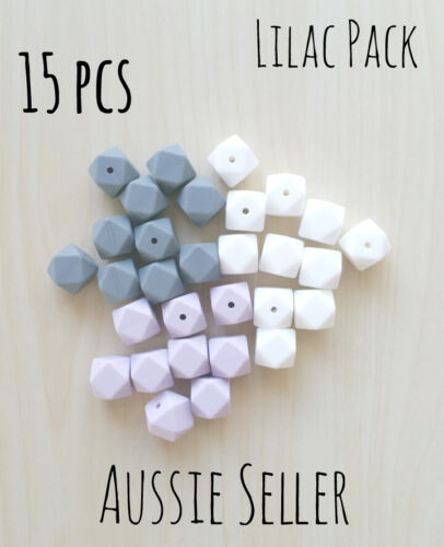 15x LILAC LIGHT GREY SNOW WHITE mixed pack 17mm hexagon silicone beads teething