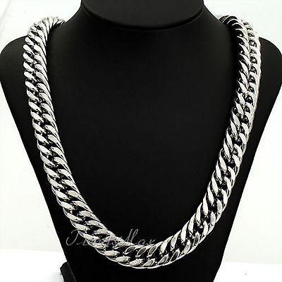 "34"" 18k Men's White Gold Chain No Stone Silver Necklace Birthday Gift Husband Bf"