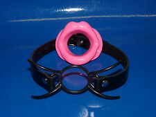 new REAL LEATHER locking strap BLACK spider gag + FREE pink silicone lips sale