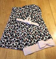 Authentic Kate Spade Cheetah Print Bow Scarf & Hat Set