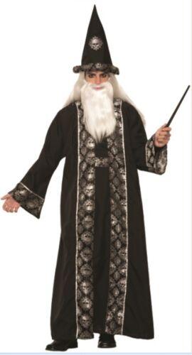 Witches /& Wizards Dark Sorcerer Adult Halloween Costume Hat Skull Robe Men/'s Std