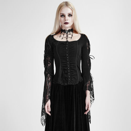 Punk Rave Gothic Bluse Lolita Shirt Steampunk Spitze Victorian Lace Cosplay y683