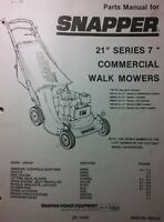 Snapper 21 Commercial Series 7 Walk Behind Mower Parts Manual 18pg 1989