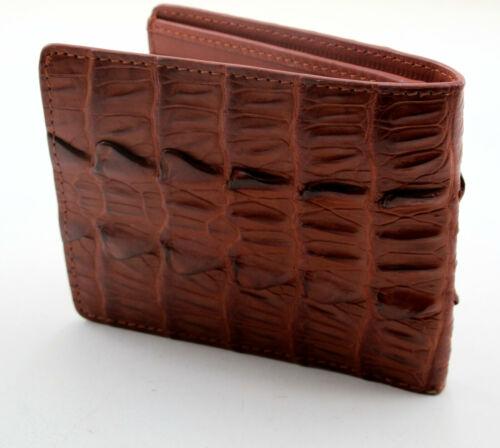 New Brown Alligator Crocodile Genuine Leather Back Skin Slim Men Bi-fold Wallet.