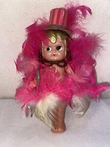 Vtg-1920-s-Celluloid-KEWPIE-Flapper-Pink-Feathers-Top-Hat-Cane-Dancer-Doll