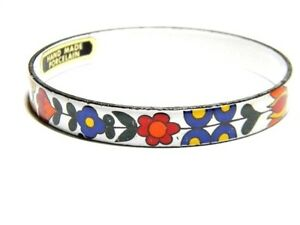 Orange-Red-Yellow-and-White-Hand-Made-Porcelain-Floral-Flowers-Bangle-Vintage-B