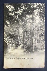 Vintage PATH TO DUNGEON ROCK LYNN MASS. POSTCARD c 1905 Rotograph A 7255 PM 1911