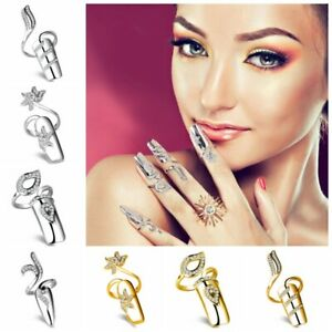 Beaute-Couvre-ongles-ongles-faux-anneaux-faux-en-argent-plaque-or-et-cristal-yu