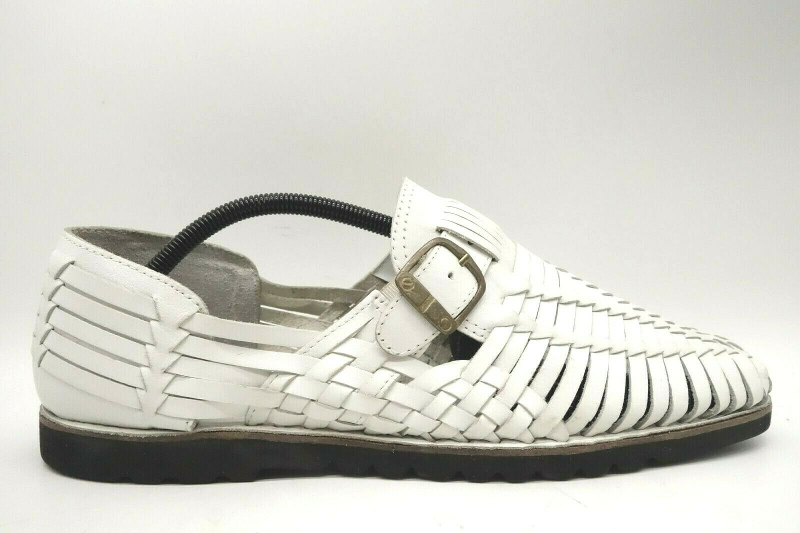 GBX White Leather Casual Slip On Side Buckle Huarache Sandals Shoes Men's 12 M