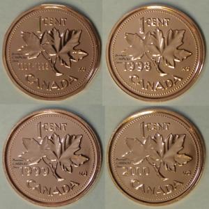 1992-1998-1999-2000-Canada-1-Cent