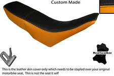 ORANGE & BLACK CUSTOM FITS GILERA GSM 50 DUAL LEATHER SEAT COVER ONLY