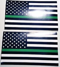 (2 pack) Thin Green Line Border Patrol flag Vinyl Decal Sticker 3x5 Park Ranger