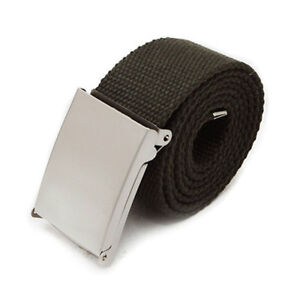 Black Cotton Belt Unisex Fabric Canvas Army Style Combat Webbing Silver Buckle
