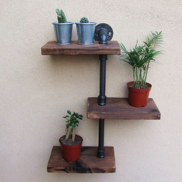 3 Tiers Industrial Wall Mount Iron Pipe Shelf Retro Rustic Urban Wooden Vintage