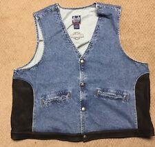 Harley Davidson Bar and Shield Denim and Leather Vest Nwot Men's XL