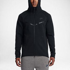 Nike-Tech-Fleece-windlaeufer-Full-Zip-Jacke-Groesse-Large-Black-Black-Schwarz