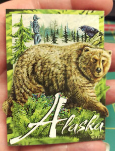 Alaska-Magnet-3D-style-Grizzly-Bear-Magnet-colorful-wood-style-Alaskan-magnet