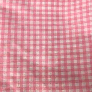 Vtg-Crepe-Gingham-Material-Fabric-Textile-Pink-amp-White-Check-164-034-x-45-034-4-5-Yd