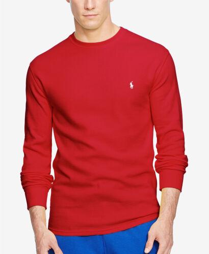 Polo Ralph Lauren Men/'s Red Waffle Thermal Crewneck Long Sleeve Shirt