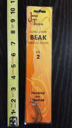 Jeros Tackle Size 2 Long Shank  Snelled Hook Size 2 6 Hooks and 7 inch leader