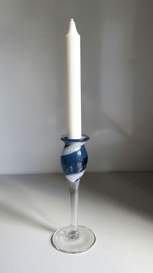 Glas, Lysestage, Holmegaard - Blue Swirl - C'est beau