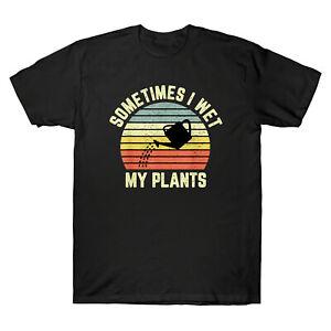 Parfois-je-Mouille-mes-plantes-drole-Jardinage-Retro-Vintage-Men-039-s-T-Shirt