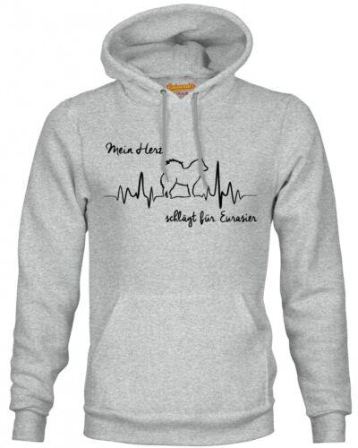 Eurasier Herz heartbeat Hoodie Sweatshirt Pullover Unisex Hundemotiv Spitz