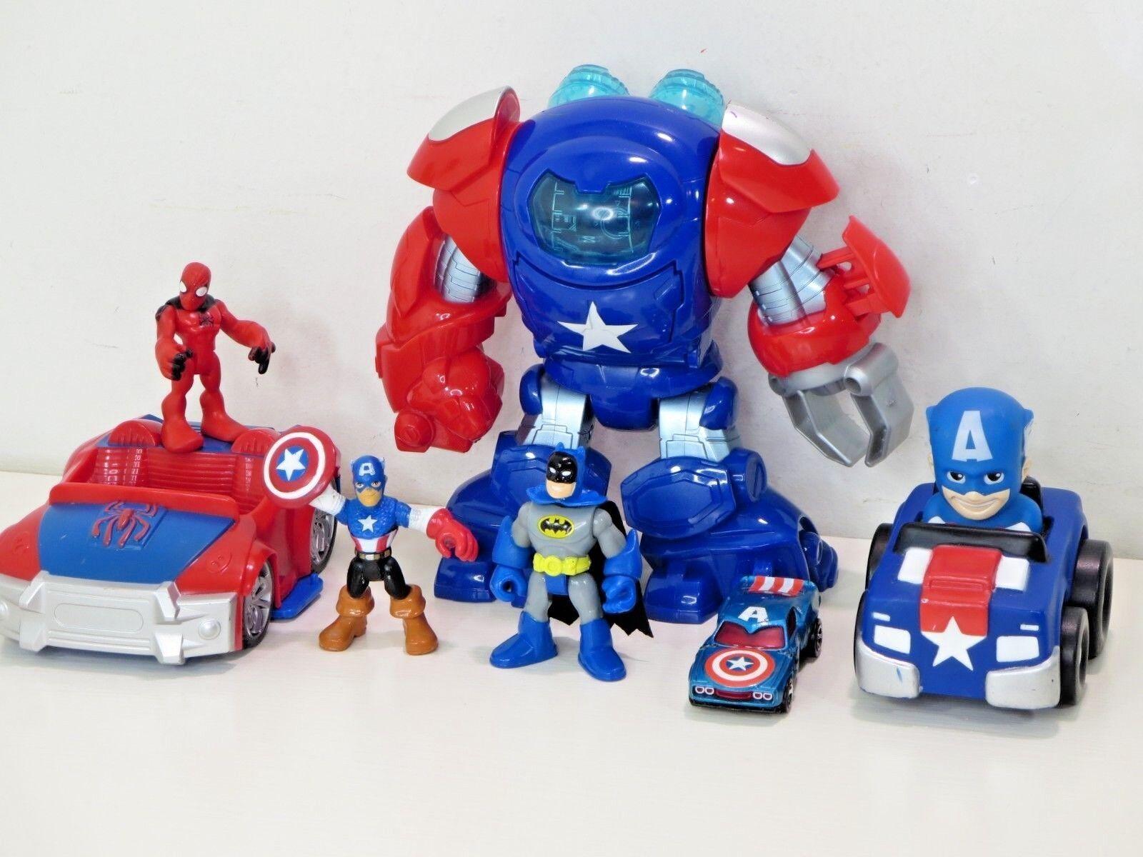 Playskool Heroes Super Hero Space Command Armor Captain America Robot Spiderman