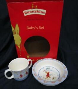Royal-Doulton-Bunnykins-Baby-039-s-Shining-Stars-2-Pc-Set-Baby-Plate-Dish-amp-Mug-NEW