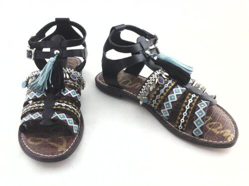 SAM EDELMAN Gladiator Sandals Linny Black Turquoise Painted Boho US 7.5//37.5 New