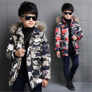 New-Kids-Boys-Fur-Hooded-Coat-Child-Camo-Winter-Warm-padded-cotton-Down-Jackets